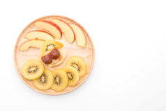 Pudding fruits with kiwi and apple Royalty Free Stock Photos