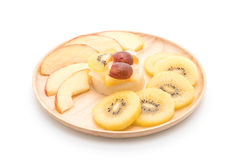 Pudding fruits with kiwi and apple Stock Photos