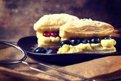 Pudding i jagoda Obraz Stock