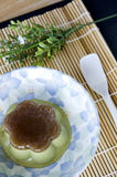 Pudding green tea on floral plate Royalty Free Stock Images