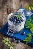 Pudding met chiazaden, andblueberry granola Royalty-vrije Stock Afbeelding