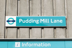 Pudding Mill Lane sign Stock Photo