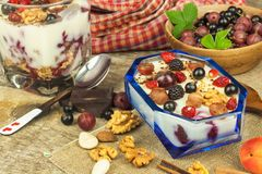 Pudding with oatmeal and black currant. Summer freshness of fresh fruit. Healthy snacking. royalty free stock image