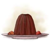 Pudding op een plaat Stock Fotografie