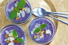 Pudding pourpre de chia de myrtille de nourriture biologique Photo libre de droits