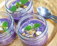 Pudding pourpre de chia de myrtille de nourriture biologique Photo stock