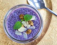 Pudding pourpre de chia de myrtille de nourriture biologique Photos libres de droits