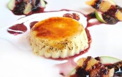 Pudding with raspberries Stock Photo