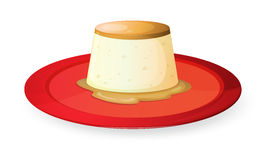 Pudding in red dish Royalty Free Stock Photos