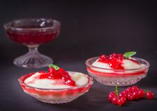 Pudding from semolina in a glass bowl with red currant syrup and berries. On a dark background stock image