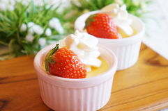 Pudding in a small cocotte Royalty Free Stock Images