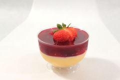 Pudding with strawberrie in cup Royalty Free Stock Images