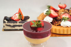 Pudding with strawberrie Royalty Free Stock Photo