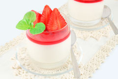 Pudding with strawberries Royalty Free Stock Photography