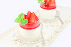 Pudding with strawberries Stock Image