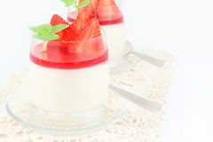 Pudding with strawberries Stock Photos