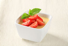 Pudding with strawberries Stock Photo