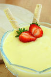 Pudding with strawberry Royalty Free Stock Images