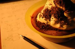 Pudding sweet as reward. For learning to exam Royalty Free Stock Photos