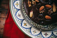 Pudding with topping of nuts Royalty Free Stock Image