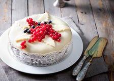 Pudding traditionnel de gâteau de fruit de Noël Photographie stock libre de droits
