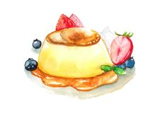 Pudding-Vanillepudding mit Karamell-Soße und Beere Stockbild