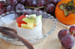 Pudding with Various Fruits Stock Photo
