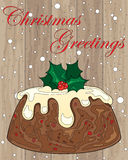 Pudding on wood. An illustration of a christmas pudding with cream and holly decoration on wood in a greeting card format Stock Images