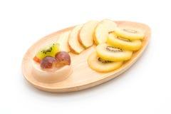 Puddingfrüchte mit Kiwi und Apfel Lizenzfreies Stockfoto