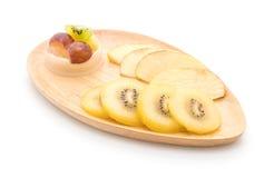 Puddingfrüchte mit Kiwi und Apfel Stockbild