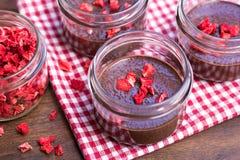 Puddings de chia de chocolat avec les fraises sèches Photographie stock libre de droits
