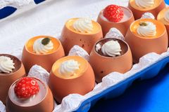 Puddings in eggshells Royalty Free Stock Photography
