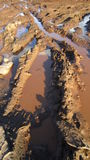 Puddle and bad roads Stock Photography