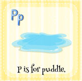Puddle. Flashcard letter P is for puddle Stock Images