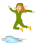 Puddle Jumping. Vector illustration of Puddle Jumping Royalty Free Stock Photos