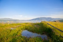 Puddle in the mountains, Carpathian, Ukraine, Europe Stock Images
