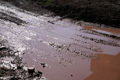 Puddle with mud Stock Images