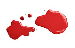 The puddle of a paint spill. The puddle of an oil paint spill isolated over the white background, top view above Royalty Free Stock Image