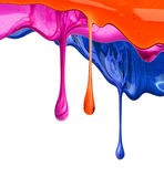 The puddle of a paint spill. Sample color paint on a white background closeup Stock Photography