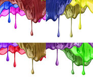 The puddle of a paint spill. Sample color paint on a white background closeup Stock Image