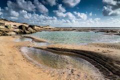 Puddle and pool at low tide. Pudles, pool, and the ruins of an old german bunker on the beach at the mouth of the bay of Authie at low tide, Berck-plage stock photos