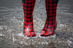 Puddle Splashing Royalty Free Stock Photos