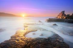 Puddle of water in Azkorri beach Stock Photography
