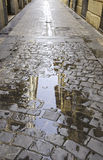 Puddle of water on the street Royalty Free Stock Image