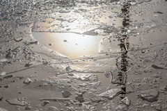 Puddles and chopped ice stock images