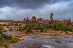 Puddles of water after Rainstorm in the Arches National Park Royalty Free Stock Photos
