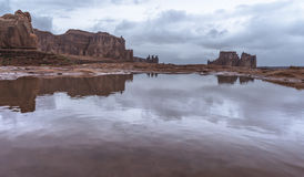 Puddles of water after Rainstorm in the Arches National Park Stock Photography