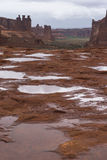Puddles of water after Rainstorm in the Arches National Park Stock Photo