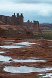 Puddles of water after Rainstorm in the Arches National Park Royalty Free Stock Photo