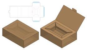 Pudełkowaty pakuje kostka do gry szablonu rżnięty projekt 3d egzamin próbny ilustracji